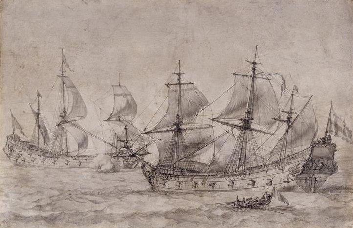 """""""Combat de Deux Vaisseaux de Ligne"""",   par Pierre Puget, XViiè siècle"""