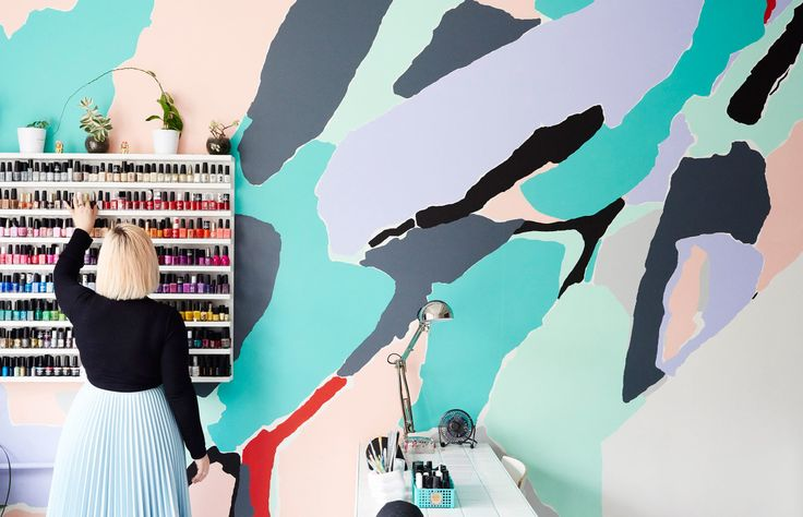 Mural by Rafaella McDonald at Melbourne's Trophy Wife Nail Salon! Photo – Eve Wilson for The Design Files.