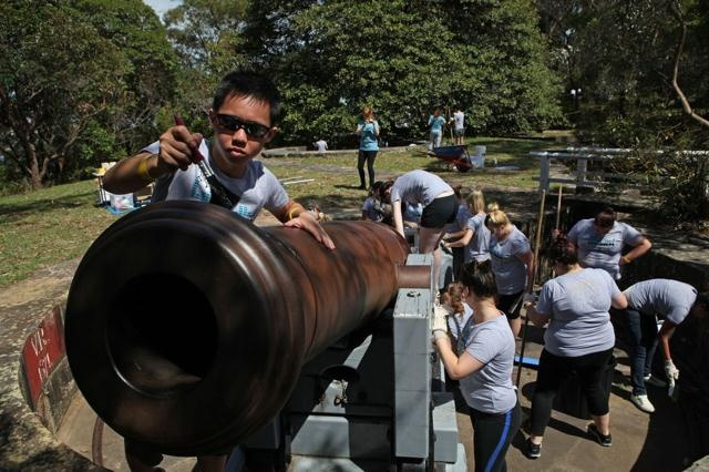 Optus RockCorps - Cleaning cannons at Bradleys Head Sydney - Feb 2013 www.optusrockcorps.com.au