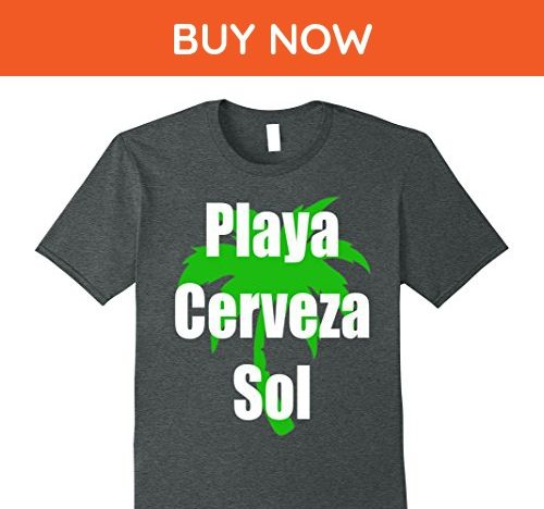 Mens Playa Cerveza Sol T-Shirt Camiseta Beach Bear Sun in Spanish XL Dark Heather - Animal shirts (*Amazon Partner-Link)