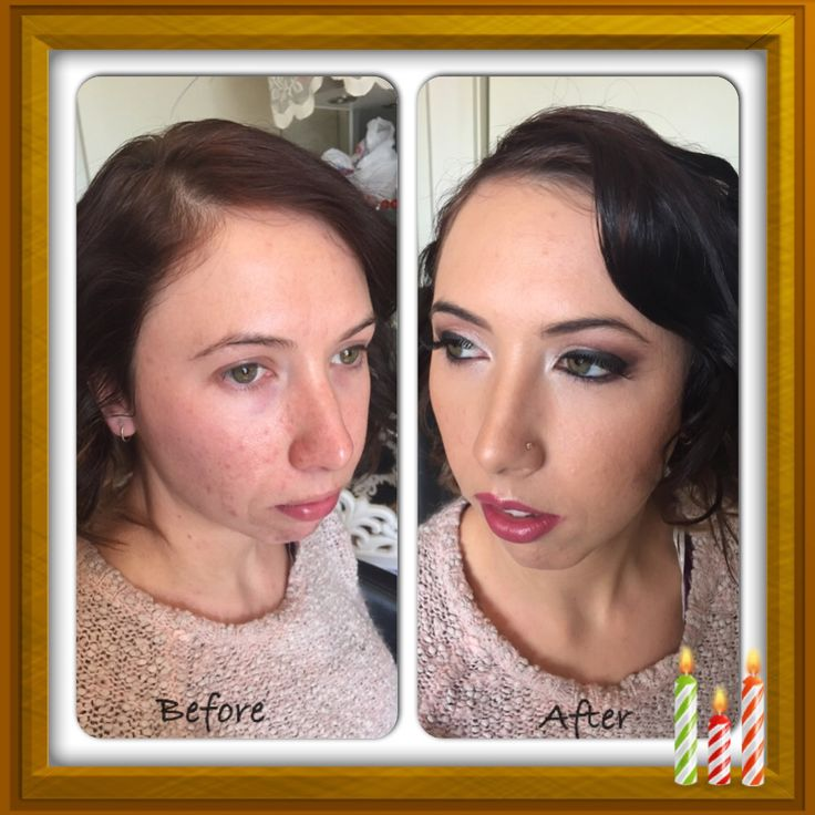 Before and after, glam makeup