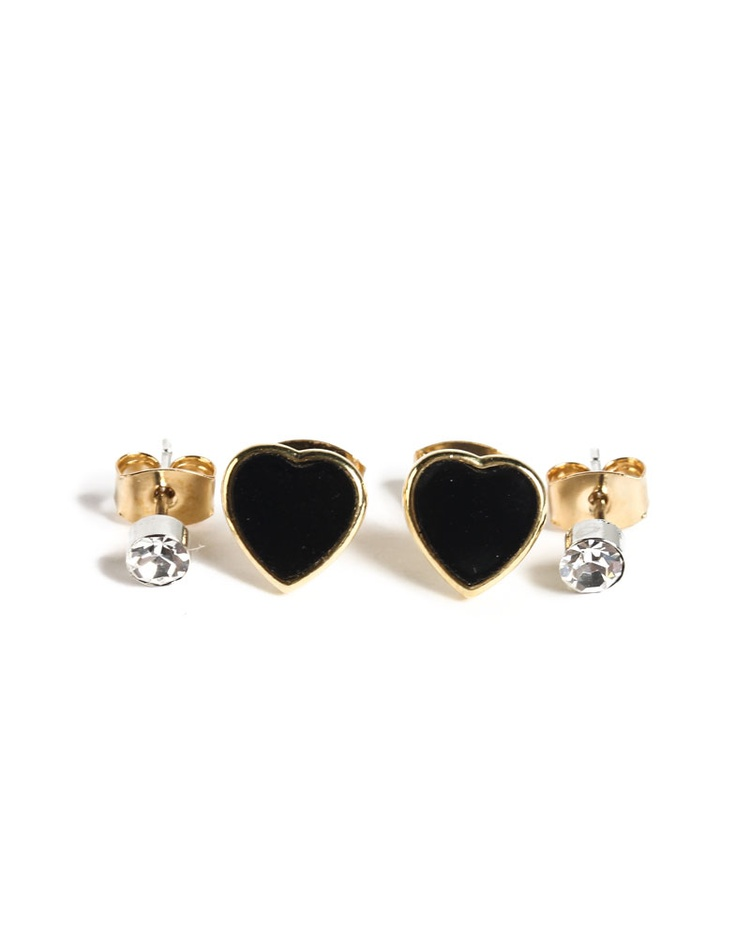 hearts and diamonds earrings.Diamonds Earrings, Black Heart, Things Accessories, Simply Stylish, Diamond Earrings, Rosie Style, Jewelry 333, Jewelry Boxes