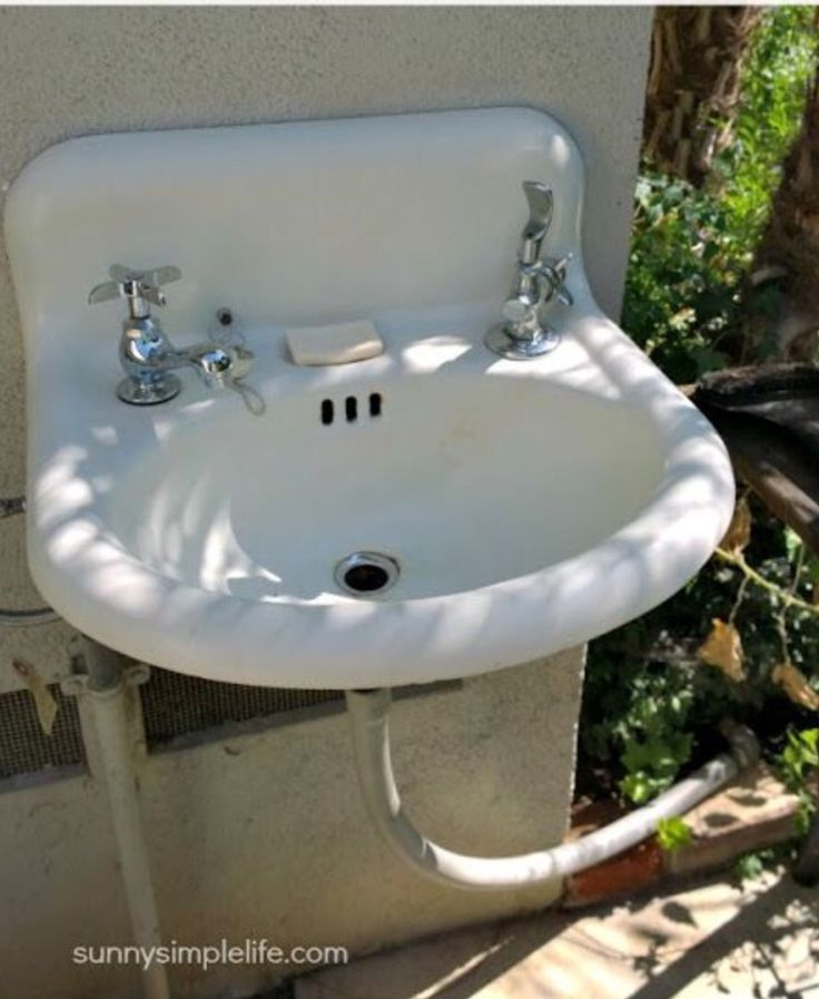 Outdoor sink, with drinking fountain!