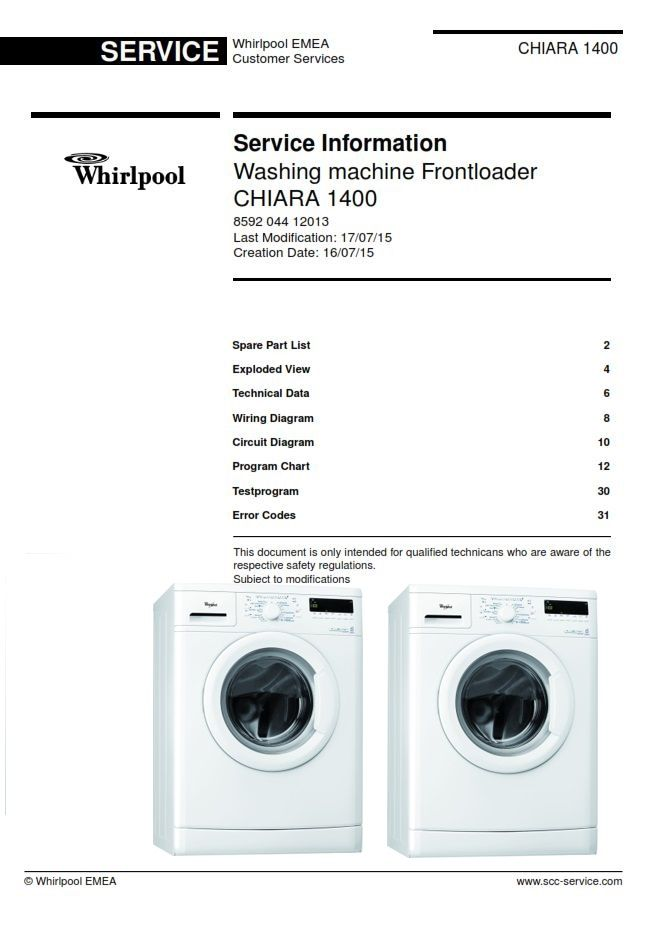 Whirlpool Chiara 1400 Washing Machine Service Info Manual Washing Machine Service Washing Machine Whirlpool Washing Machine