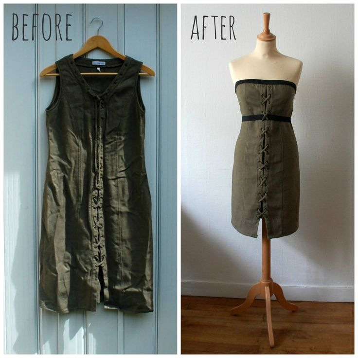 Vintage Refashion Olive Green Strapless Dress, Women's Size S/M by CamilleVintage on Etsy