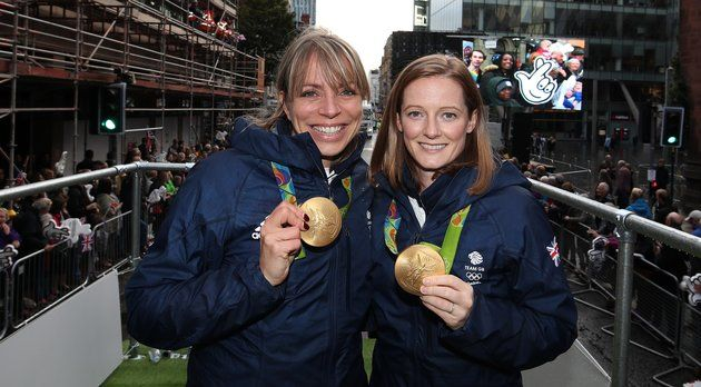 (CREDITS: LYNNE CAMERON VIA GETTY IMAGES)  Kate Richardson-Walsh and Helen Richardson-Walsh, the first same-sex married couple to win Olympic medals.