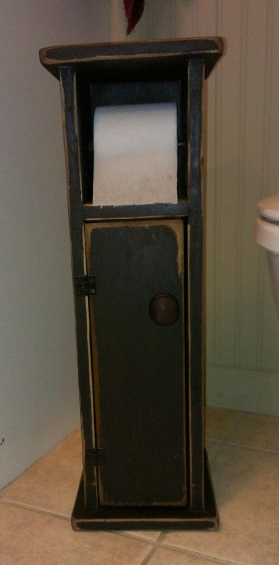 Primitive Toilet Paper Holder with Storage by OldCrowTreasures, $55.95
