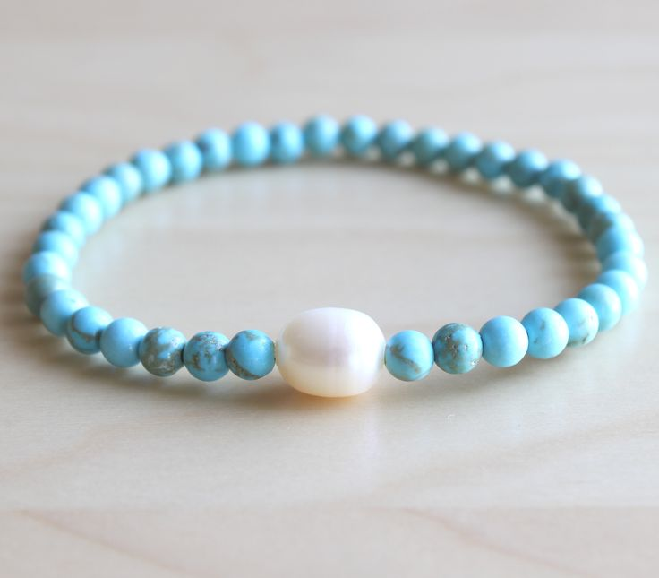 Turquoise and white pearl mala bracelet by hands.love.jewelry www.handslovejewelry.etsy.com