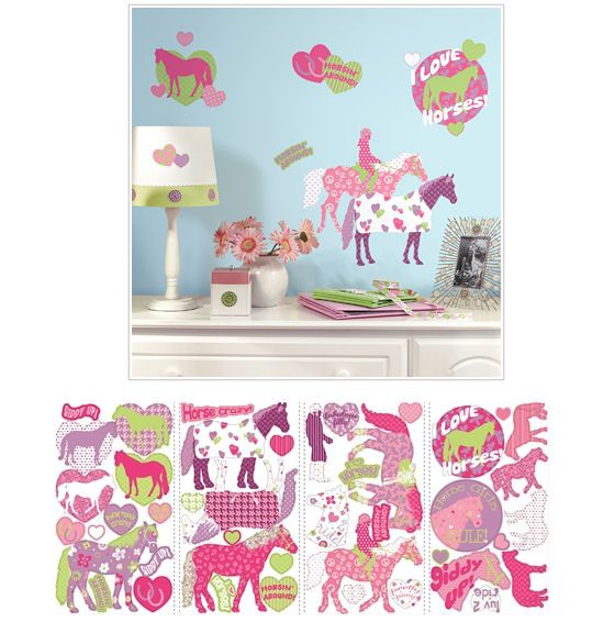 Horse Crazy Peel And Stick Wall Decals   Wall Sticker Outlet