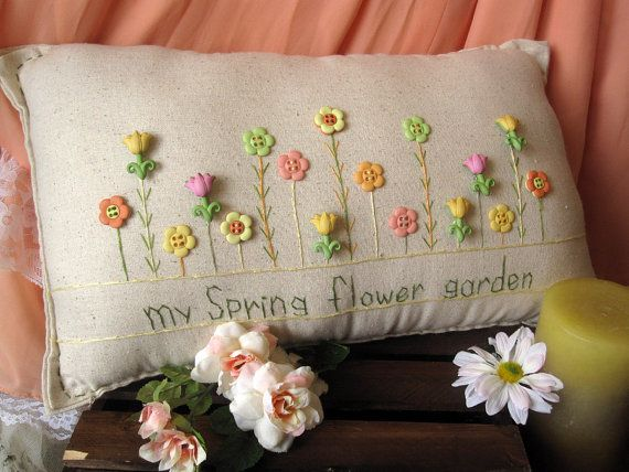 My Spring Flower Garden Pillow Cottage Style by PillowCottage