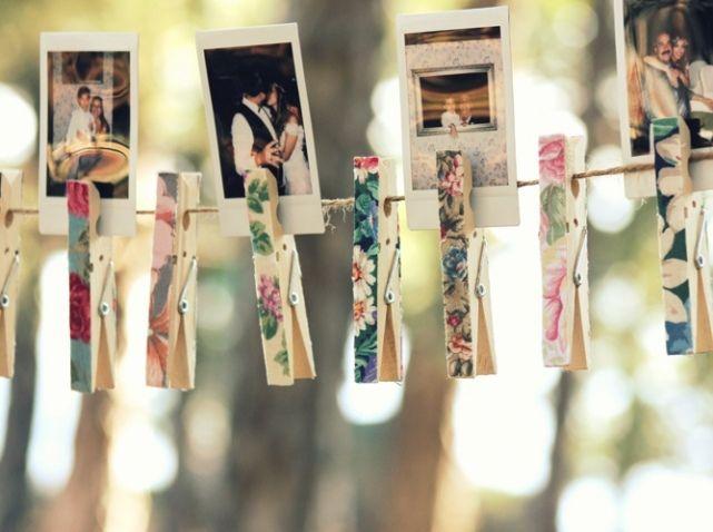 Decoration salle de mariage pinces photos  Mariage... Pas le mien ...
