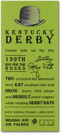 Derby Hat on Shimmery Green Kentucky Derby Party Invitations