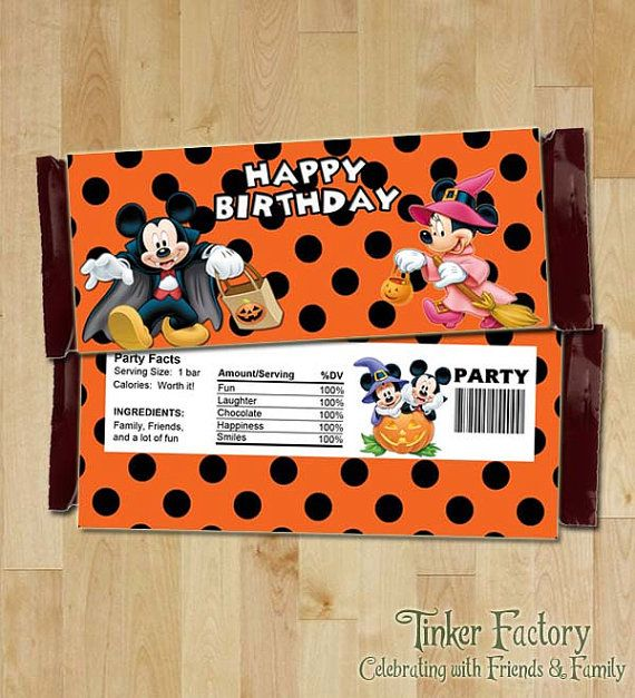 instant download mickey mouse halloween happy birthday candy bar wrapper digital file printable - Halloween Themed Birthday Party
