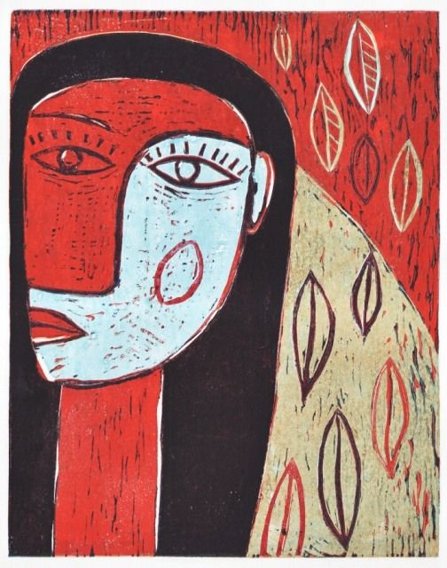 In the red garden, 2012, linocut, 32 x 25cm by Jindřich Pevný