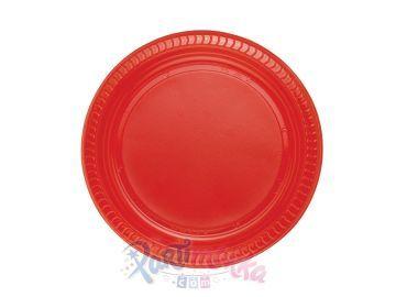 Kırmızı Renk Plastik Doğum Günü Tabakları 25 li