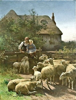 antique English pastoral print ... sheep and cottage
