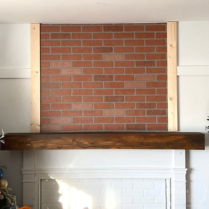 Faux Fireplace Overmantel Makeover With Faux Brick Paneling In