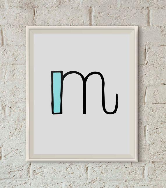 M Print Letter M Monogram Printable Dorm Wall Art von semantik
