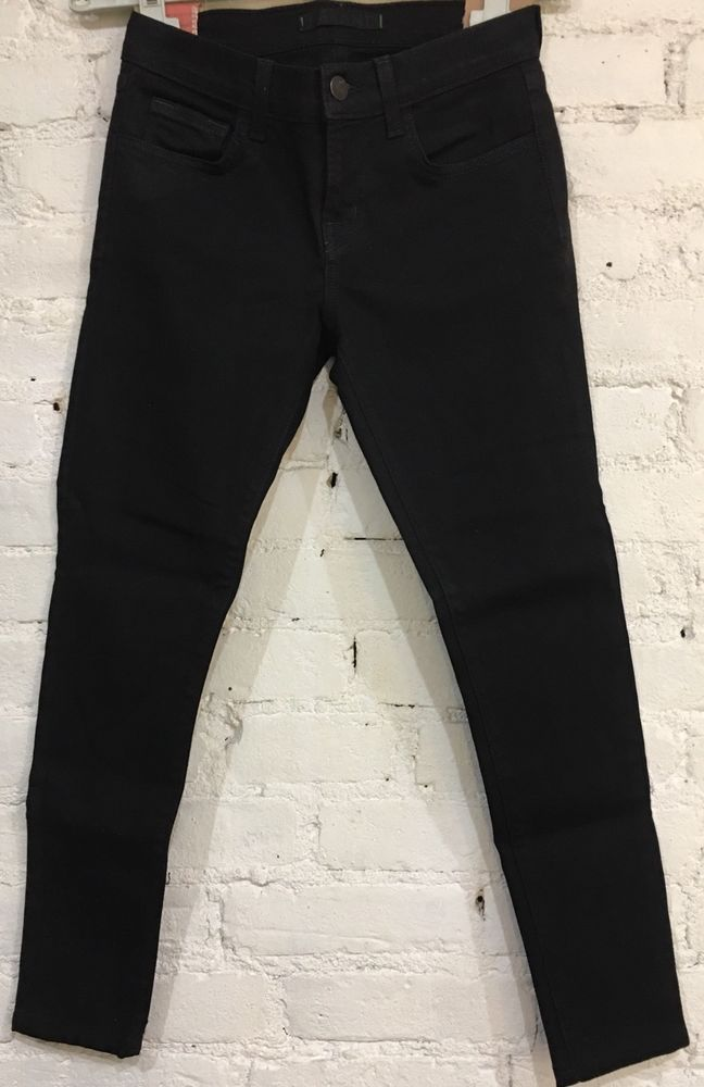 j.Brand Coated Stealth 7/8 Ankle Jean Size 25 x 25 Mid Rise Cotton Stretch Black #JBrand #CapriCroppedSlimSkinny