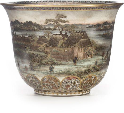 A rare deep Satsuma bowl By Yabu Meizan, Meiji period (late 19th century)