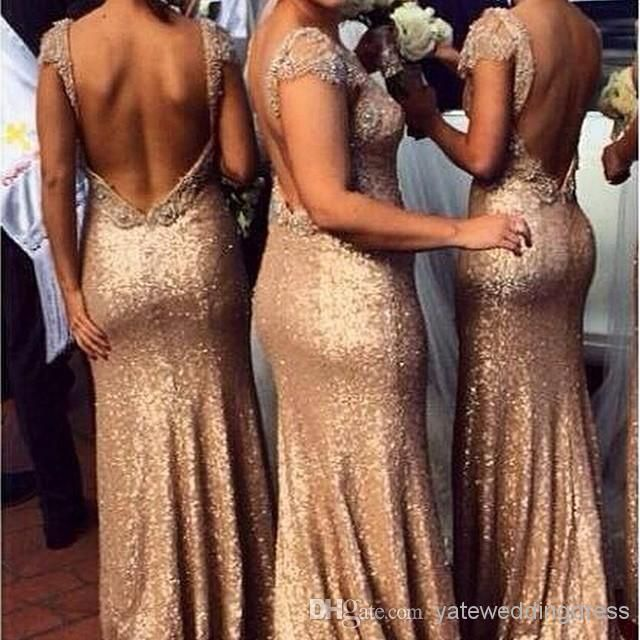 Sparkle V-neck Sheath Gold Sequins Cap Sleeve Backless Evening Gowns 2014 Custom Made Wedding Bridesmaid Dresses Maid Of Honor, $100.26 | DHgate.com