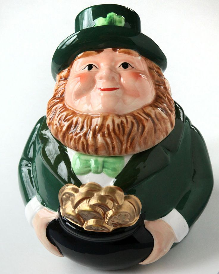"Leprechaun 6"" Cookie Jar Desk Candy Dish 2-piece St Patrick's Day Irish Figure"