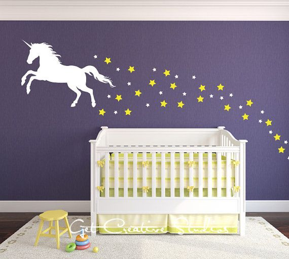 Unicorn Decal Magical Legend Wall Stars Baby Children Fairy Tale Storybook Fable Horse Dream Playroom    1 - Unicorn • 22H x 33W • 010 - Snow