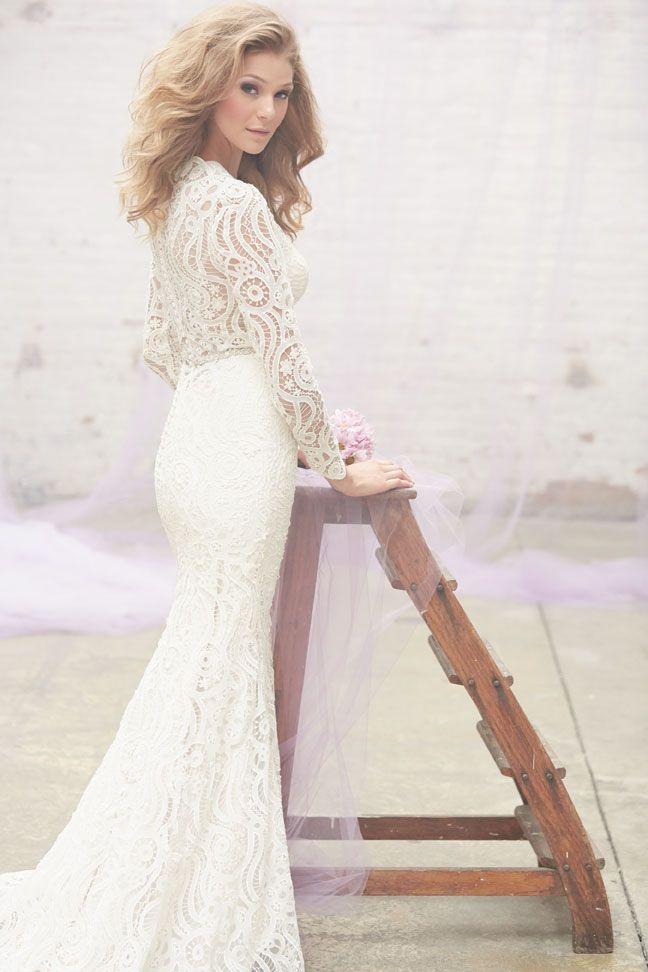 Madison James MJ112 - Classic brides and bohemian beauties alike will fall in love with this vintage patterned sleeved lace gown. Vintage Style Bridal Gowns | Brides of Melbourne