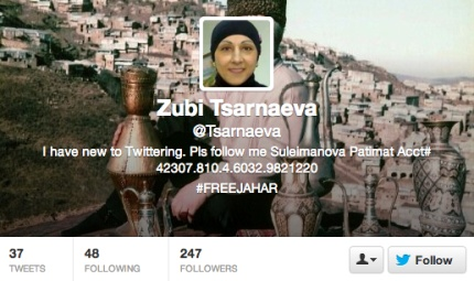 "The powers that be at Twitter haven't verified Zubeidat Tsarnaeva yet, but it's only been a few hours and, according to her bio, she ""have new to Twittering."" Dzhokhar Tsarnaev's Twitter pal Troy Crossley (who was quickly smacked down by CNN's Anderson Cooper after claiming he had Cooper's support) has been at the forefront of the #FreeJahar movement, and Mrs. Tsarnaeva — if that really is Mrs. Tsarnaeva [dramatic pause] — has entrusted him to collect cash donations on her behalf. [...]…"