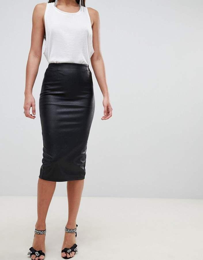 a80dfba50826 ASOS DESIGN sculpt me leather look pencil skirt Affiliate link ...