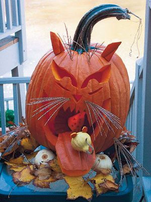 """Cat Pumpkin"" Carving Idea ~ Good Housekeeping"