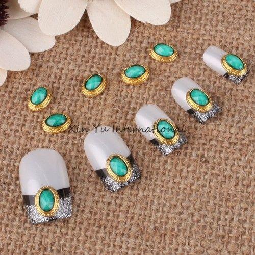 50pcs Oval Turquoise Stones 3D Alloy Glitters Nail Art DIY Decorations