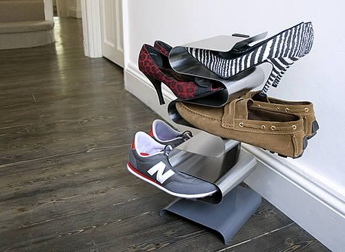 Uber cool take on the traditional shoe rack in brushed stainless steel. Functional ...