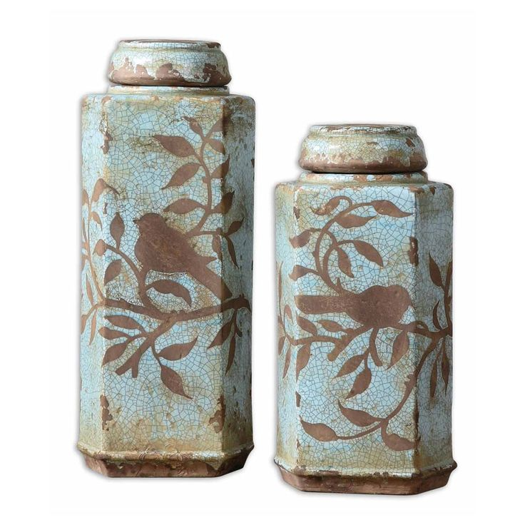 SHABBY FRENCH CHIC S/2 Bird CANISTER JARS Ceramic Blue Aviary Distressed Crackle
