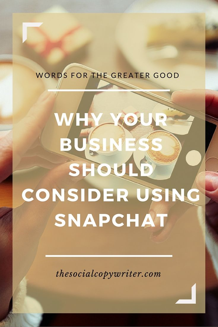 why your business should consider using snapchat  http://www.thesocialcopywriter.com/why-your-business-should-consider-using-snapchat/
