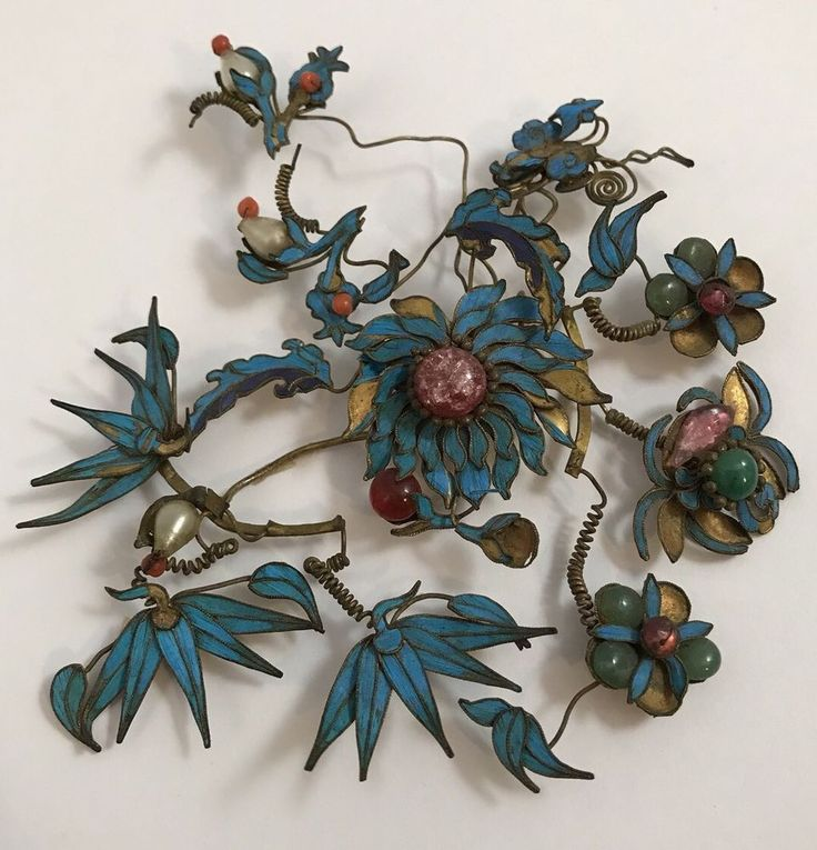 Details about HUGE ANTIQUE CHINESE KINGFISHER ORNAMENT