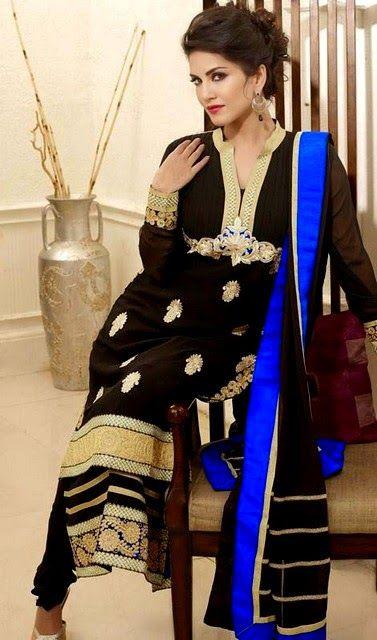 Sunny Leone Style 2014 – Sunny Leone in Pretty Salwar Kameez Dresses – She9 | Alter the Life Style - FASHIONPAB