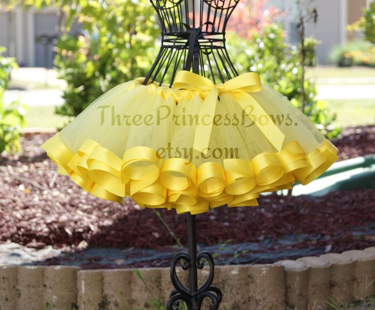 Belle Yellow Satin Ribbon Trim Tutu. $42.00, via Etsy. Love the satin trim