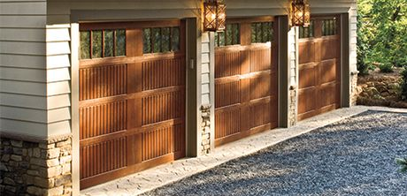 Do you want the look of wood garage doors but not all the maintenance? Look no further than Wayne Dalton fiberglass exterior garage doors that will give you the look of an upscale wood door. A great way to enhance the curb appeal of your home!