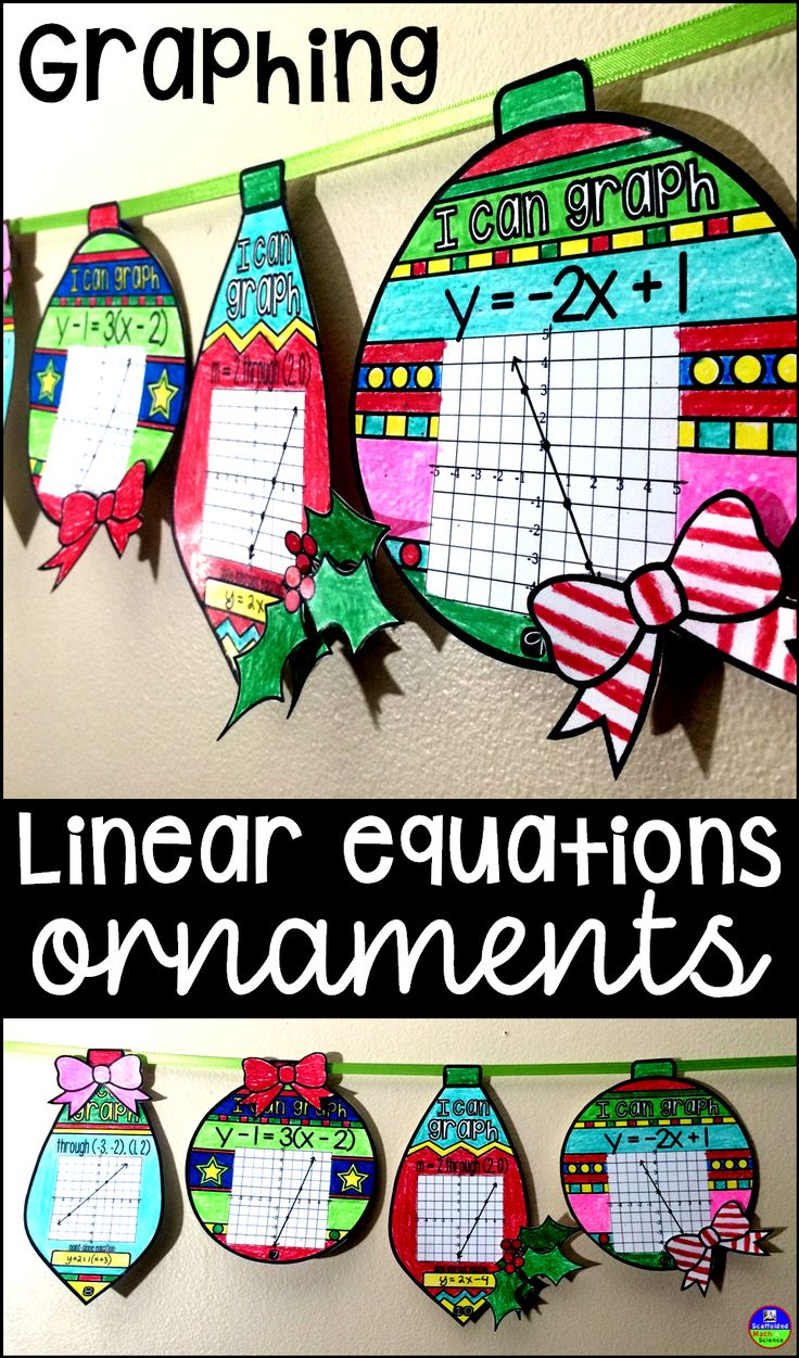 Graphing linear equations ornaments. In this collaborative activity for the holidays, students graph lines and write their equations. Question types include: 1: Graphing from slope-intercept form 2: Graphing from point-slope form 3: Graphing & writing the slope-intercept equation given slope and a point 4: Graphing & writing the point-slope equation given slope and a point 5: Graphing & writing the slope-intercept equation given 2 points 6: Graphing & giving a point-slope equation given