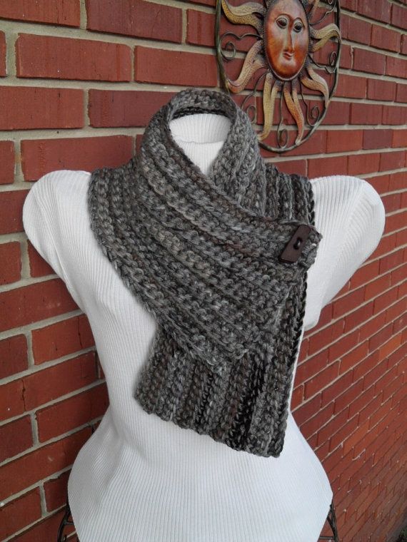 crocheted chunky cowl scarflette scarf with button  @April Cochran-Smith Cz