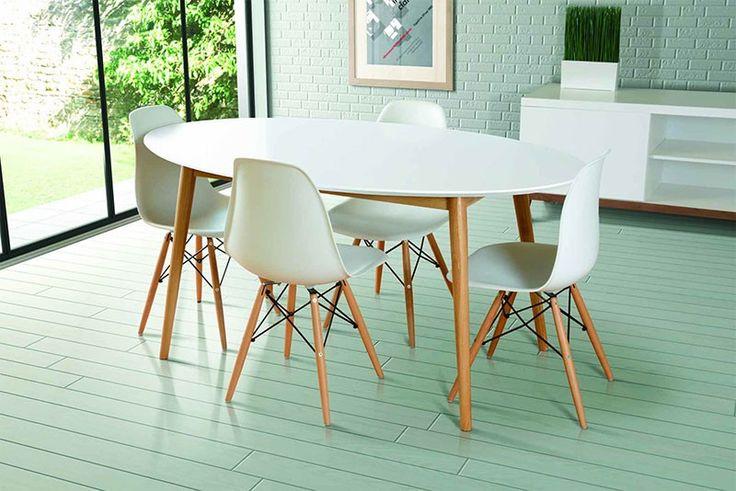 Tretton White Oval Dining Table 4x Eames White Replica