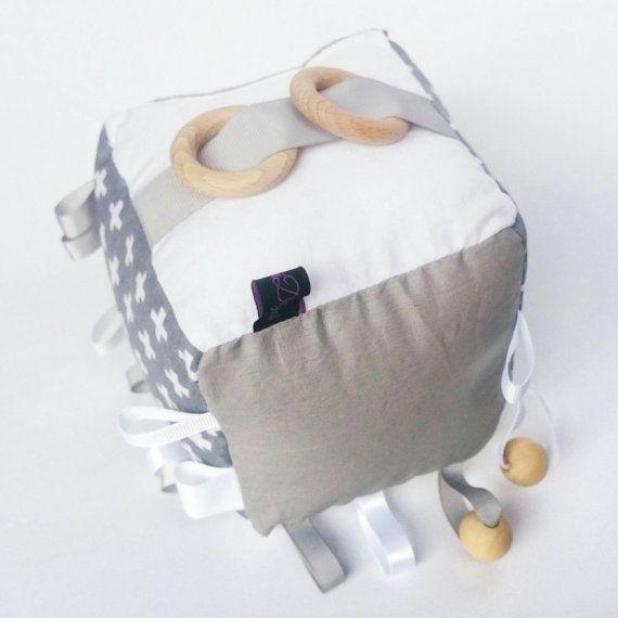 Crinkle sound rattle bell baby Swiss cross grey door KawaiiDezigns