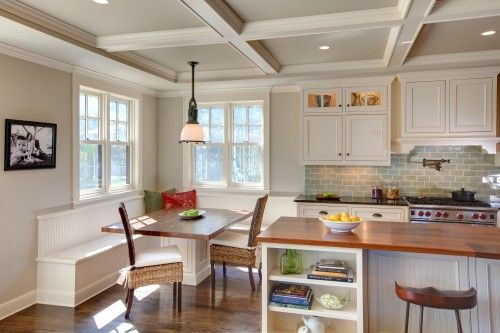 White kitchen with enough contrast to keep it interesting. Love the mix of countertops.: White Kitchen, Custom Homes, Redbud Custom, Traditional Kitchens, Subway Tile, Kitchen Nook, Kitchen Ideas