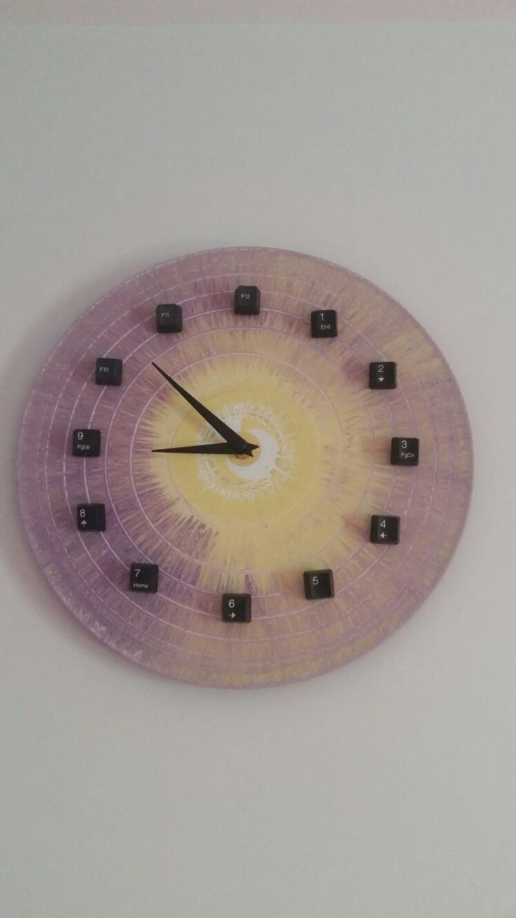 Vinyl record wall clock with keyboard numbers