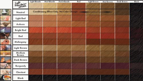Different Shades Red Hair Color Chart