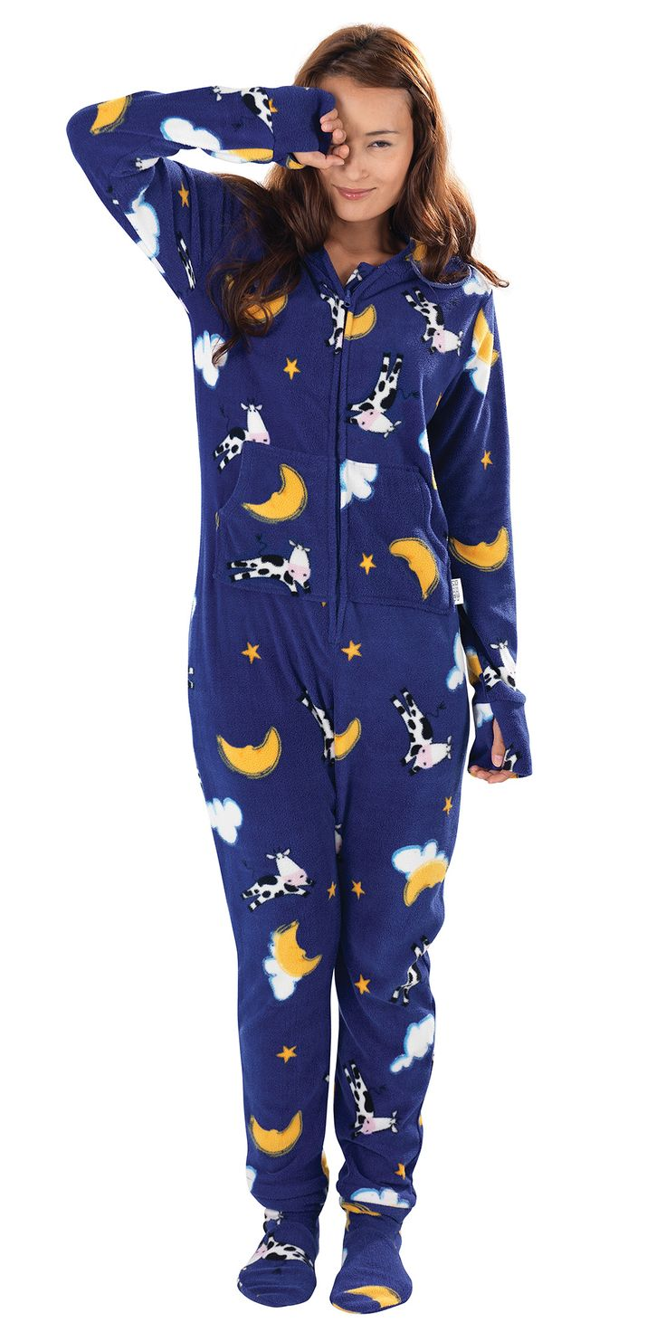Hoodie footie pajamas for women