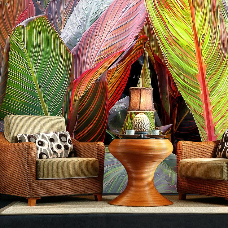 Free Shipping 3D stereo tropical banana leaf wallpaper restaurant hotel sofa background wallpaper mural
