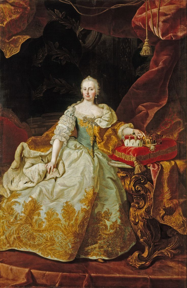 Maria Theresa of Austria (1717-1780), daughter of Charles VI, Holy Roman Emperor & Elizabeth Christine of Brunswick-Wolfenbuttel.  Maria Theresa was an Archduchess of Austria & later Queen of Hungary & Bohemia (1740-1780) in her own right & Holy Roman Empress (1745-1765) as wife of Francis I, Holy Roman Emperor.