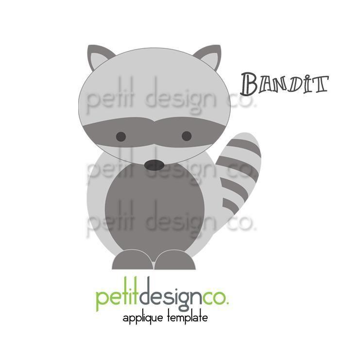 Looking for your next project? You're going to love Racoon Appliqué Template by designer PetitDesignCo.